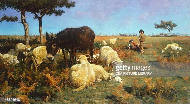 Grazing 18851890 by Stefano Bruzzi oil on canvas 45x82 cm