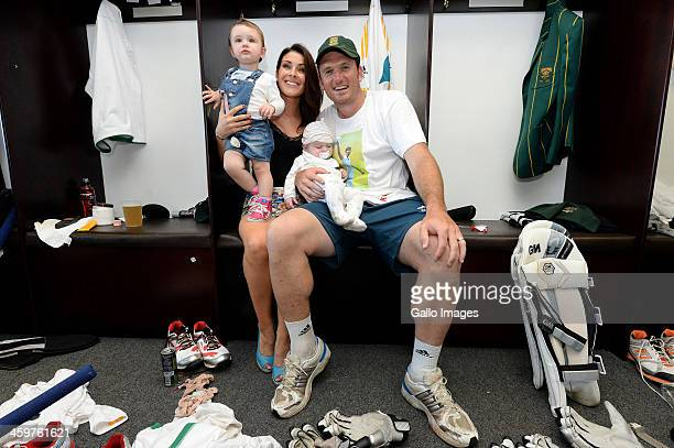 Greame Smith with his family in the changing room during day 5 of the 2nd Test match between South Africa and India at Sahara Stadium Kingsmead on...