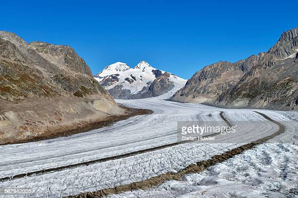Great Aletsch Glacier, the mountains Eiger and Monch at the back, Canton of Valais, Goms, Switzerland