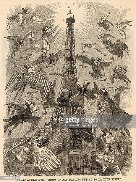 Great Attraction Birds of all Nations Flying to La Tour Eiffel Cartoon by Edward Linley Sambourne celebrating the building of the Eiffel Tower and...