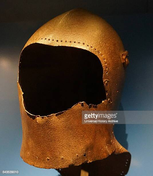 A great bacinet Helmet the first helmets to be worn with a complete suit of plate armour Dated 15th Century