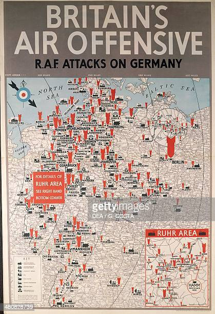 Great Britain 20th century Second World War Britain's air offensive RAF attacks on Germany Propaganda poster depicting the offensive plan of Royal...