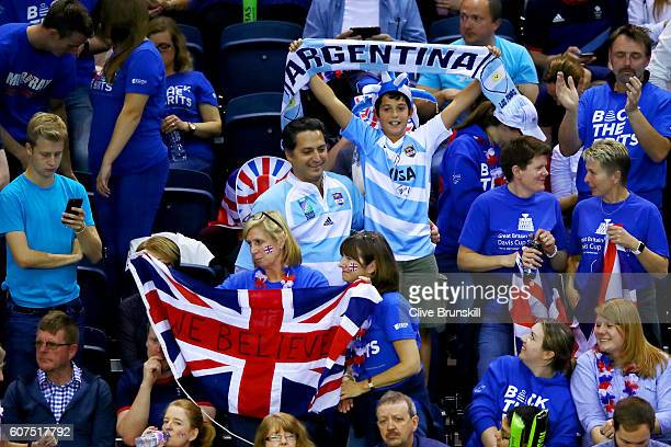 Great Britain and Argentina fans show their support during the singles match between Andy Murray of Great Britain and Guido Pella of Argentina during...