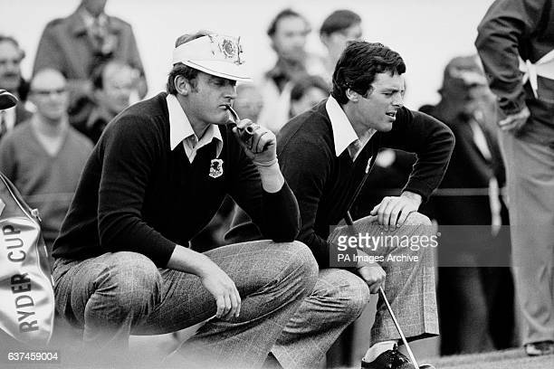 Great Britain and Ireland's Brian Barnes and Bernard gallacher can't bear to look as the USA team win another point