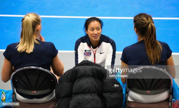 Great Britain captain Anne Keothavong talks to Jocelyn Rae and Laura Robson of Great Britain during the Fed Cup Europe/Africa Group 1 Pool C doubles...