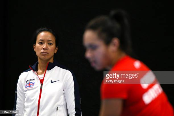 Great Britain captain Anne Keothavong watches as Heather Watson of Great Britain trains prior to the Fed Cup Europe/Africa Group 1 Pool C matches...