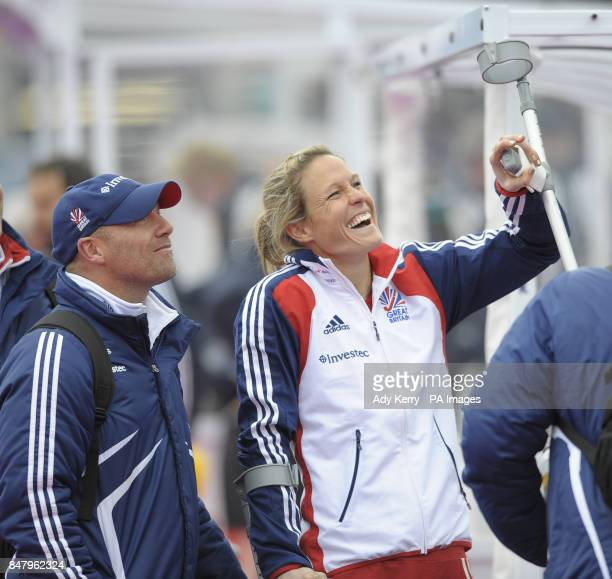Great Britain coach Danny Kerry with Crista Cullen who scored two goa s but is injured in the final during the Visa International Invitational Hockey...