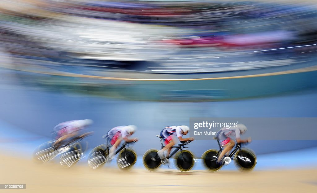 Great Britain compete in the Men's Team Pursuit Qualification during the UCI Track Cycling World Championships at Lee Valley Velopark Velodrome on...
