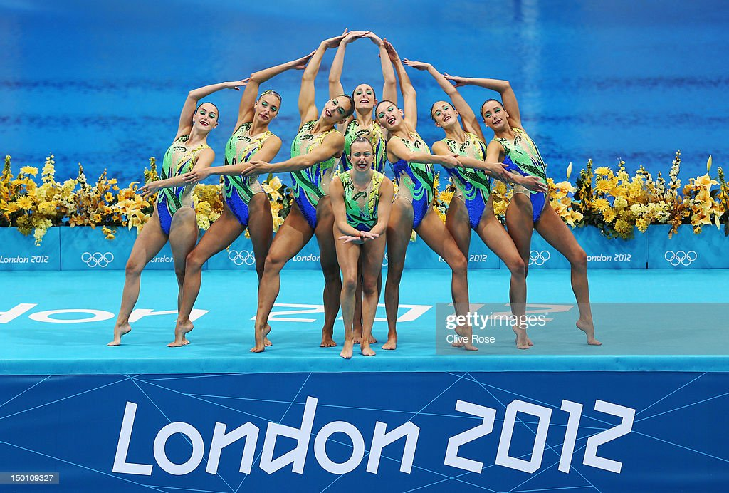 Great Britain competes in the Women's Teams Synchronised Swimming Free Routine final on Day 14 of the London 2012 Olympic Games at the Aquatics Centre on August 10, 2012 in London, England.