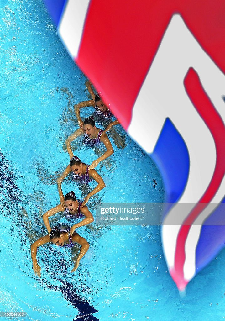 Great Britain competes in the Women's Teams Synchronised Swimming Technical Routine on Day 13 of the London 2012 Olympic Games at the Aquatics Centre on August 9, 2012 in London, England.