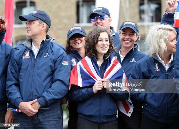 Great Britain crew member Kirsty Reid with teammates during the start of the Clipper Round the World Race at St Katharine Docks London