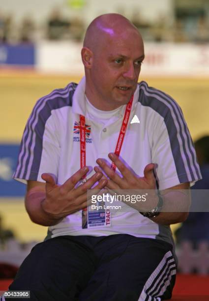 Great Britain Cycling Team Performance Director Dave Brailsford makes a point during the UCI Track Cycling World Championships at the Manchester...