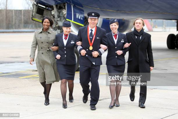 Great Britain cyclist Sir Chris Hoy with from right Jeremy Gilley Jayne Deasy Julie Driffield and Denise Lewis at the launch of the BA Great Britons...