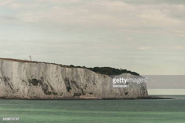 Great Britain, England, Dover, Chalk Coast, White Cliffs and lighthouse