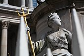 Great Britain, England, London, St. Paul's Cathedral, female figure holding trident at base of Queen
