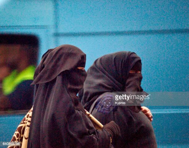 UK, Great Britain, England, London, View Of Muslim Women Wearing Burqa