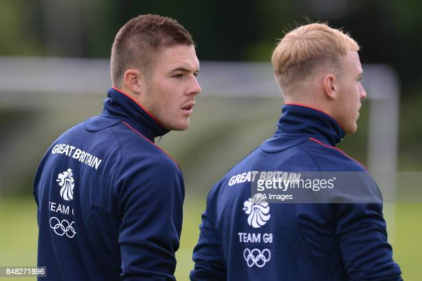 Great Britain goalkeepers Jack Butland and Jason Steele during a training session at Champneys Hotel and Spa Leicestershire