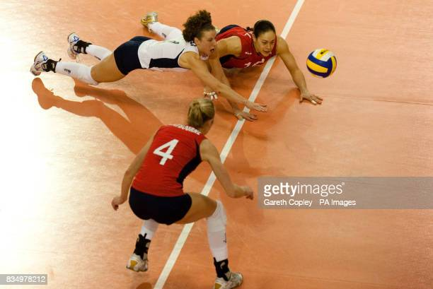 Great Britain libero Maria Bertelli and Janine Sandell dive for the ball during the FIVB World Championship 2010 First Round match at the English...