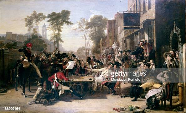 Great Britain London Wellington Museum Whole artwork view Outdoors group scene with a multitude of men retired military and women in front of an inn...
