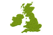 Great Britain map from green grass, 3D rendering isolated on white background