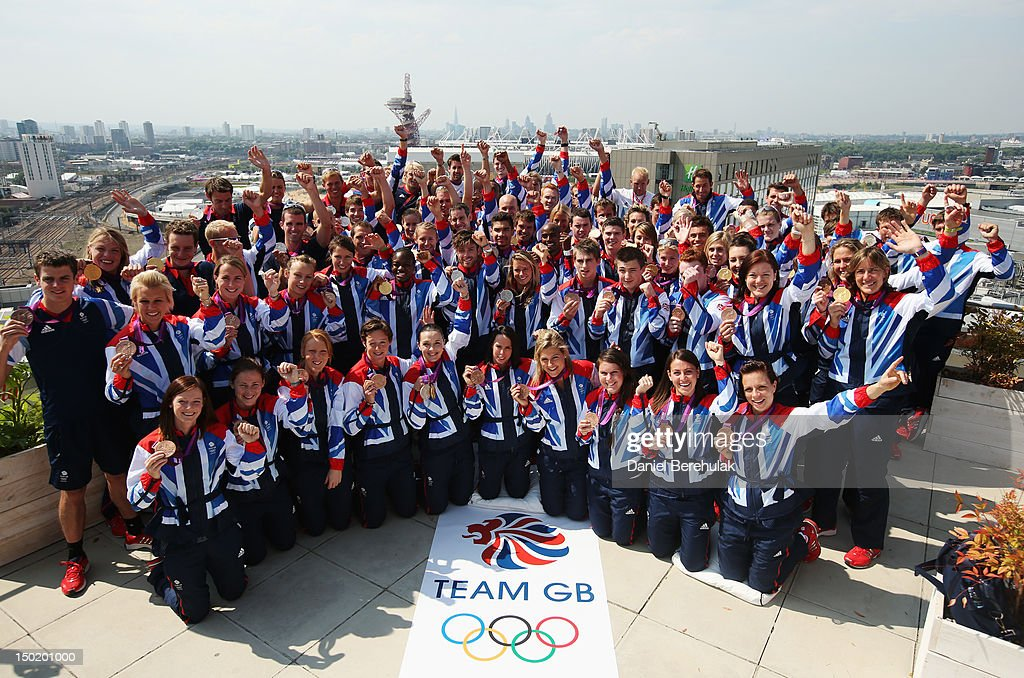 Great Britain medalists pose during a TEAM GB Press Conference during Day16 of the London 2012 Olympic Games at Team GB house on August 12, 2012 in London, England.