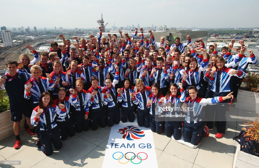 Great Britain medalists pose during a TEAM GB Press Conference during Day16 of the London 2012 Olympic Games at Team GB house on August 12, 2012 in London, England. Front row (L-R): Helen Richardson, Sarah Thomas, Nicola White, Hannah McLeod, Victoria Pendleton, Beth Tweddle, Georgie Twigg, Laura Unsworth, Emily Maguire, Kate Walsh. Second Row (L-R): Alex Danson, Laura Bartlett, Chloe Rogers, Anne Panter, Nicola Adams, Luke Patience, Hannah Mills, Max Whitlock, Sam Oldham, Daniel Purvis, Beth Storrey. Others behind (L-R): Jonathan Brownlee, Anna Watkins, Alistair Brownlee, Liam Heath, Mark Hunter, Jon Schofield, Heather Stanning, Richard Chambers, Rob Williams, Zac Purchase, Ed McKeever, Helen Glover, David Florence, Kat Copeland, unidentified athlete, Andy Triggs-Hodge, Tom James, Peter Chambers, Etienne Stott, Louis Smith, unidentified athlete, Lutalo Muhammad, Peter Wilson, Alan Campbell, Tim Baillie, Mo Farah, Greg Rutherford, unidentified athlete, Kristian Thomas, Luke Campbell, Nick Dempsey, Robbie Grabarz, Jade Jones, Ashleigh Ball, Alex Patridge, Laura Bechtolsheimer, Michael Jamieson, Rebecca Adlington, Ben Ainslie, Tom Daley, Gemma Gibbons, Anthony Ogogo, Dani King, Karina Bryant, Greg Searle, Jo Rowsell, unidentified athlete, Saskia Clark, Katherine Gainger, Stuart Bithell, Iain Percy.