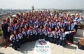 Great Britain medalists pose during a TEAM GB Press Conference during Day16 of the London 2012 Olympic Games at Team GB house on August 12 2012 in...