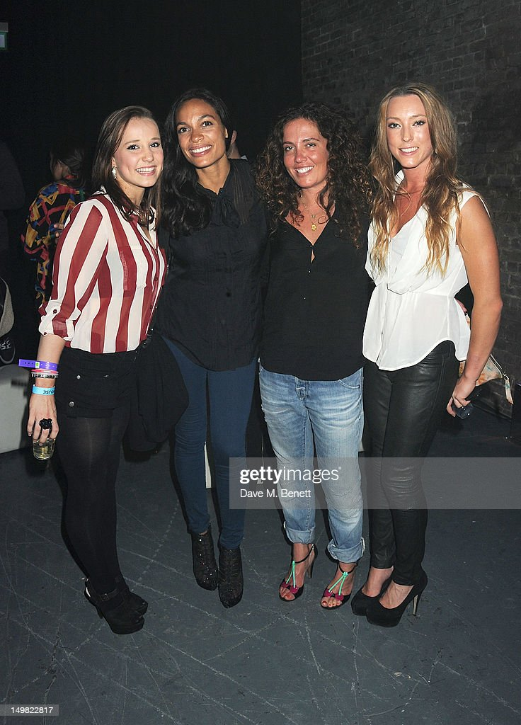 Great Britain Olympic Gymnast Hannah Whelan, actress <a gi-track='captionPersonalityLinkClicked' href=/galleries/search?phrase=Rosario+Dawson&family=editorial&specificpeople=201472 ng-click='$event.stopPropagation()'>Rosario Dawson</a>, <a gi-track='captionPersonalityLinkClicked' href=/galleries/search?phrase=Tara+Smith&family=editorial&specificpeople=2562400 ng-click='$event.stopPropagation()'>Tara Smith</a> and Great Britain Olympic Gymnast Imogen Cairns attend a VIP Reception as Glaceau vitaminwater presents 'Jessie J Live In London' at The Roundhouse on August 4, 2012 in London, England.