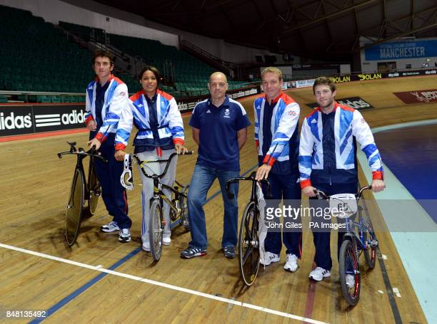 Great Britain Olympic team members Geraint ThomasShanaze Reade British Cycling Performance Director Dave Brailsford Sir Chris Hoy and Liam Phillips...
