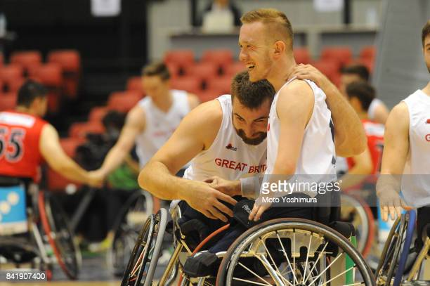 Great Britain players celebrate their win over Japan after the Wheelchair Basketball World Challenge Cup match between Great Britain and Japan at the...