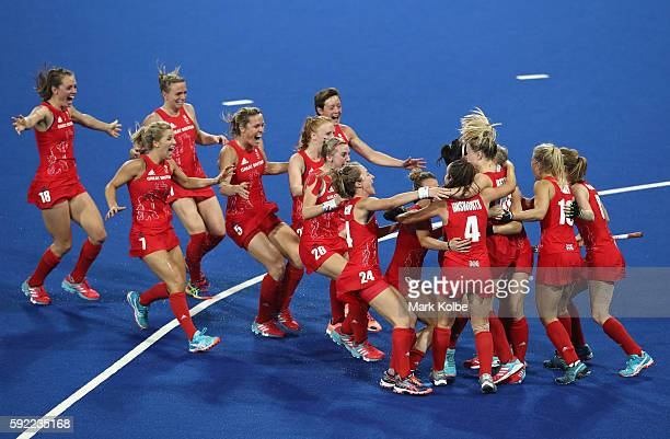 Great Britain players celebrate winning the shootout against Netherlands to win the Women's Gold Medal Match on Day 14 of the Rio 2016 Olympic Games...