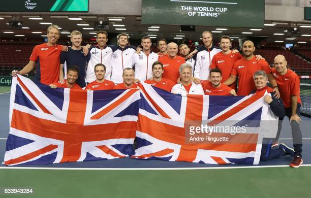 Great Britain poses for a team photo after their win against Canada on day three of the Davis Cup World Group tie between Great Britain and Canada at...