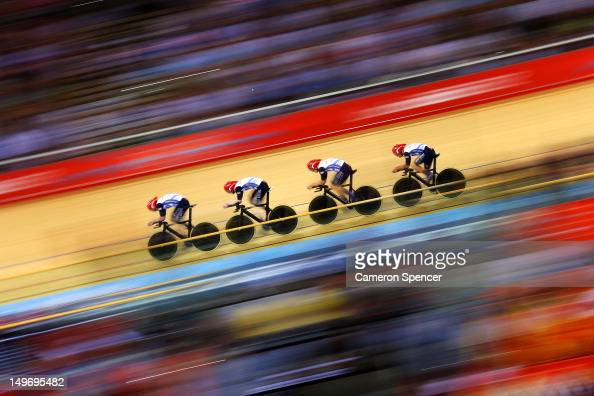 Great Britain post a new world record time during Men's Team Pursuit Track Cycling Qualifying on Day 6 of the London 2012 Olympic Games at Velodrome...