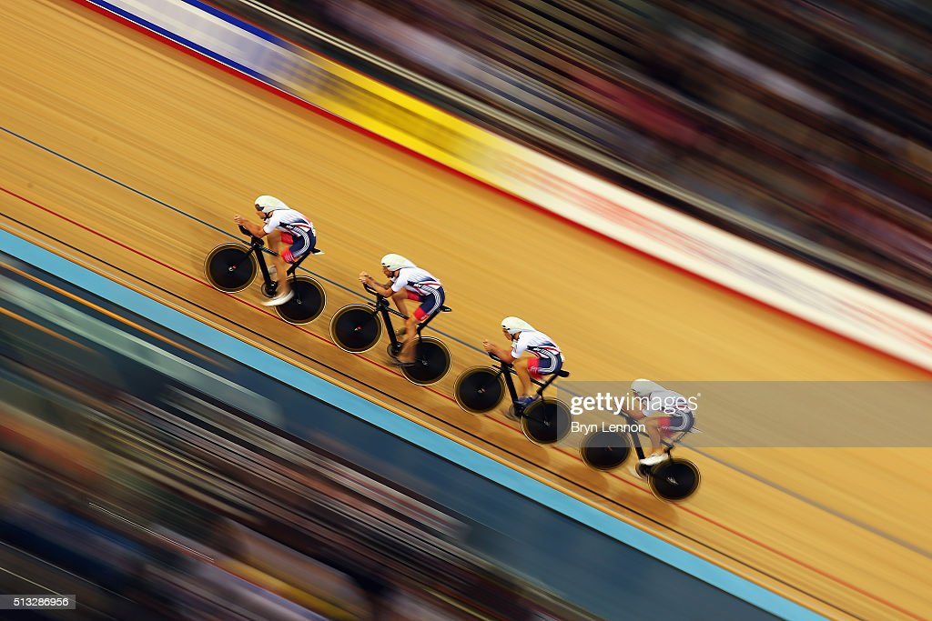 Great Britain ride in qualifying for the Men's Team Pursuit at the Lee Valley Velopark Velodrome on March 2 2016 in London England
