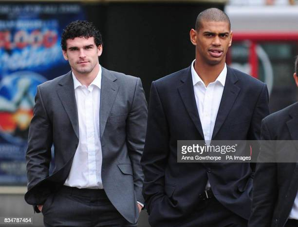 Great Britain rugby league internationals Stuart Reardon and Leon Pryce arrive at Bradford Magistrates Court this morning