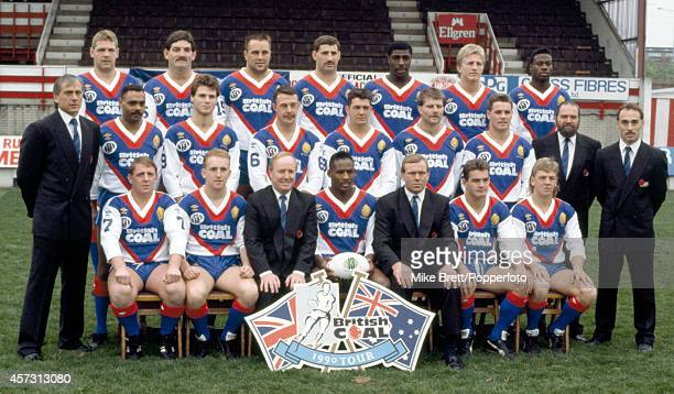 Great Britain Rugby League team on 22nd October 1990 Back row left to right Karl Fairbank Kevin Ward Andy Damatt Karl Harrison Roy Powell Denis Betts...