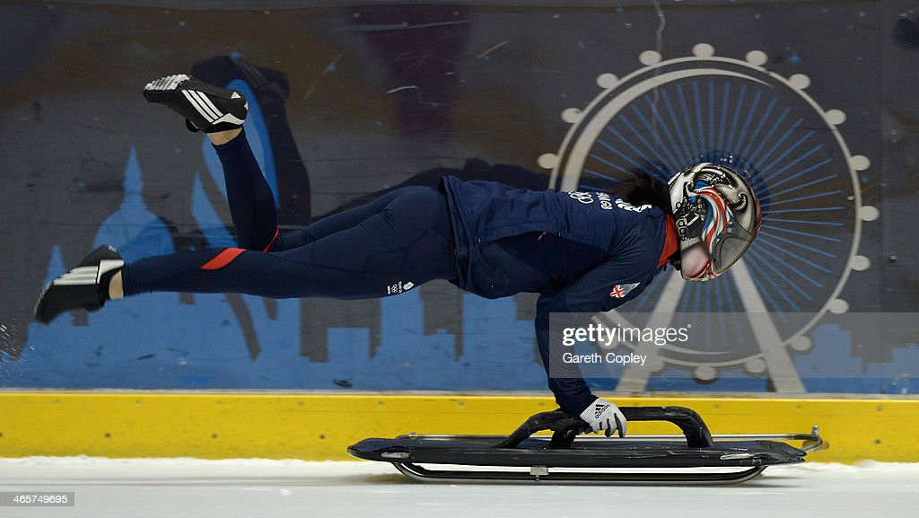 Great Britain Skeleton athlete <a gi-track='captionPersonalityLinkClicked' href=/galleries/search?phrase=Shelley+Rudman&family=editorial&specificpeople=722346 ng-click='$event.stopPropagation()'>Shelley Rudman</a> in action during a training session at Ice Sheffield on January 29, 2014 in Sheffield, England.
