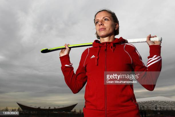 Great Britain womens hockey team Captain Katie Walsh poses in front of the Velodrome at the London 2012 Olympic Hockey Centre pitch is unveiled at...