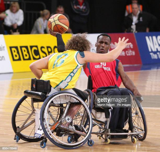 Great Britain's Abdi Jama shoots against Australia's Dylan Alcott during the Wheelchair Basketball match at the Manchester Regional Arena during the...