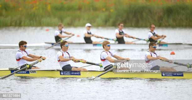 Great Britain's Adam FreemanPask William Fletcher Jonathan Clegg and Chris Bartley compete in their lightweight men's four heat during day one of the...