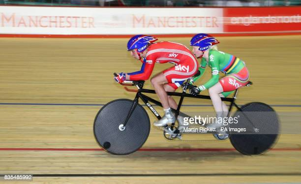 Great Britain's Aileen McGlynn and Vicky Begg on their way to Gold in the B/Vi 3KM Pursuit during the BT Paralympic World Cup Manchester