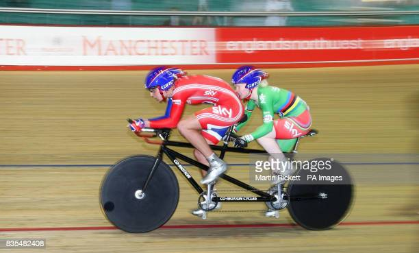 Great Britain's Aileen McGlynn and Vicky Begg on their way to winning the 1000M Time Trial B/Vi during the BT Paralympic World Cup Manchester