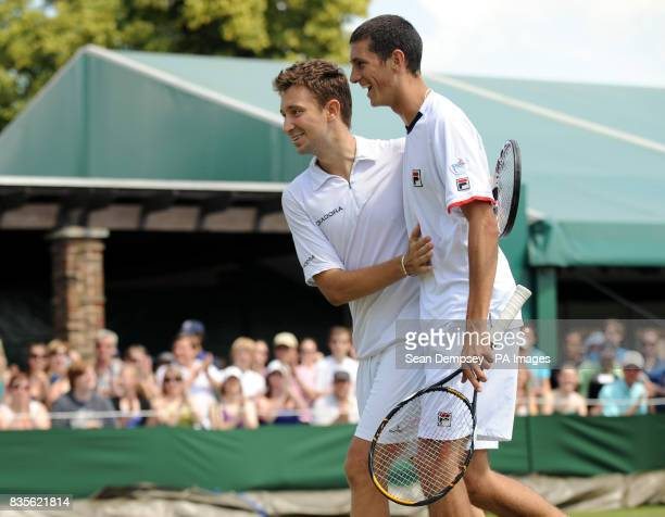 Great Britain's Alex Bogdanovic and James Ward celebrate winning their doubles match during the 2009 Wimbledon Championships at the All England Lawn...