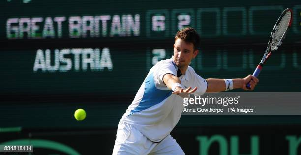Great Britain's Alex Bogdanovic in action against Austria's Alexander Peya during the Davis Cup World Group PlayOffs at The All England Lawn Tennis...