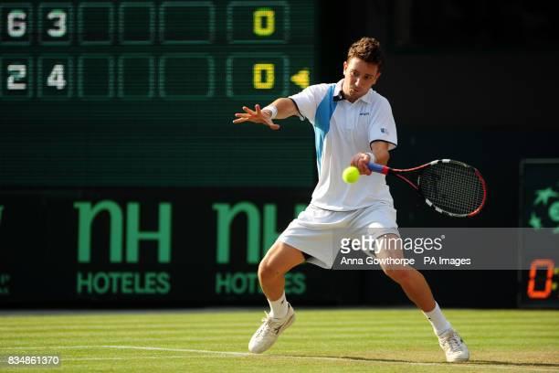 Great Britain's Alex Bogdanovic in action against Austria's Alexander Peya during the Davis Cup World Group PlayOffs