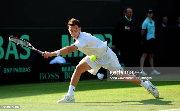 Great Britain's Alex Bogdanovic in action against Austria's Jurgen Melzer during the Davis Cup World Group PlayOffs at The All England Lawn Tennis...