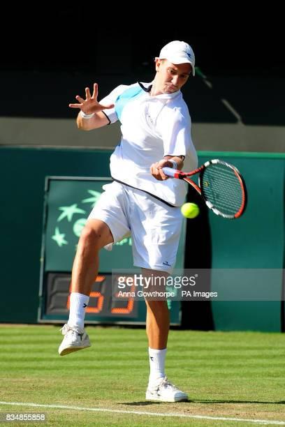 Great Britain's Alex Bogdanovic in action against Austria's Jurgen Melzer during the Davis Cup World Group PlayOffs