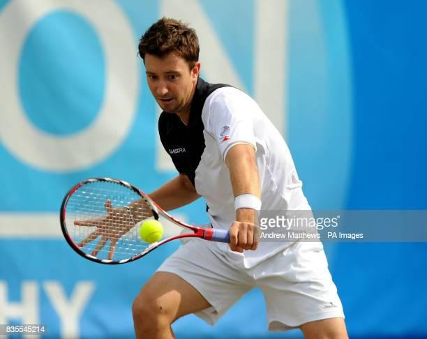 Great Britain's Alex Bogdanovic in action against Bulgaria's Grigor Dimitrov during the Nottingham Open at the Nottingham Tennis Centre Nottingham