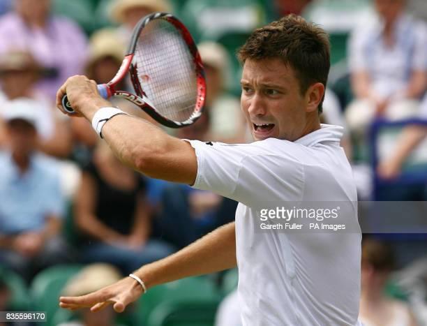 Great Britain's Alex Bogdanovic in action against Dmitry Tursunov during the AEGON International at Devonshire Park Eastbourne