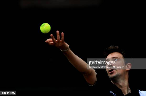 Great Britain's Alex Bogdanovic in action against Japan's Tatsuma Ito during the Nottingham Open at the Nottingham Tennis Centre Nottingham